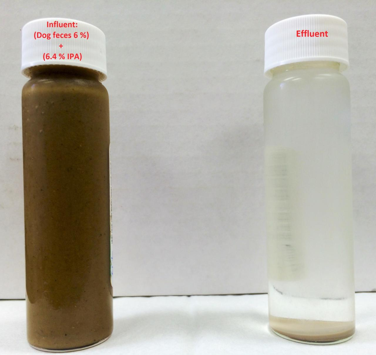 Influent (left) and effluent (right) from our supercritical water oxidation prototype (June 2016)